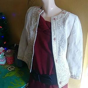 Ann Taylor sequin and bead linen blazer size 0